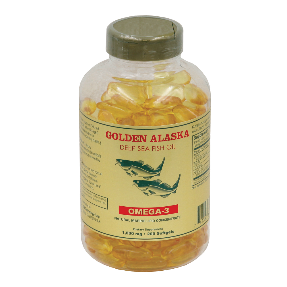 Golden alaska deep sea fish oil 200 softgels 1 000mg for Alaska deep sea fish oil