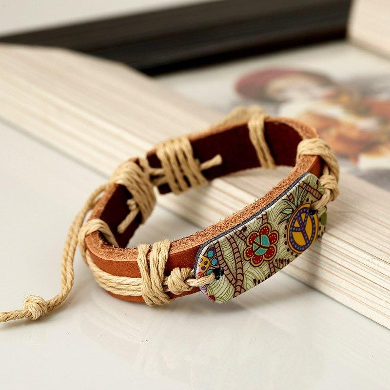 Bracelet en cuir Peace and Love - Bracelets - BohemeForever