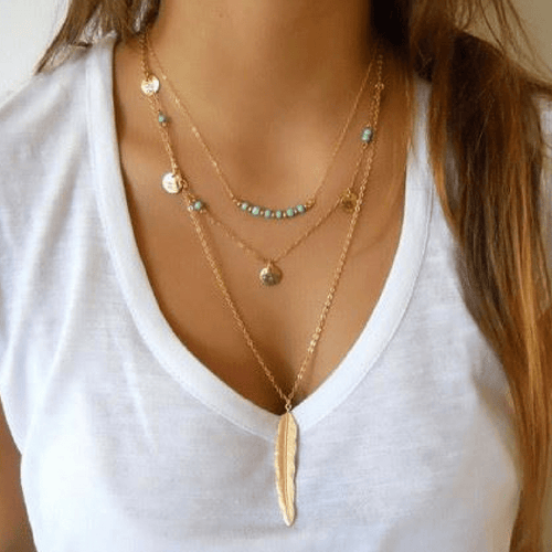 Collier sautoir multi-rangs boho grande plume or - Colliers - BohemeForever