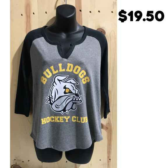 Bulldogs Hockey Club Women's Outfield 3/4 Sleeve Vintage 50/50 Tee