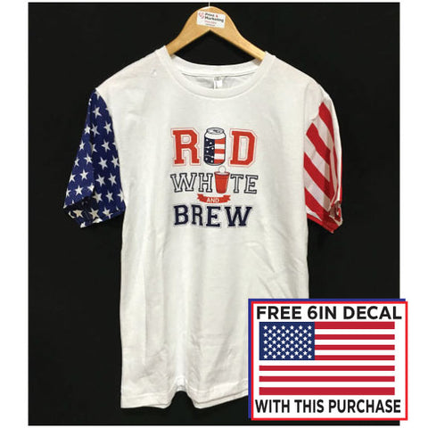 Red White and Brew Stars & Stripes Tee Unisex American Flag Drinking T-Shirt