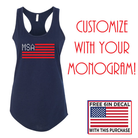 Custom Monogram American Flag Women's Ideal Racerback Tank