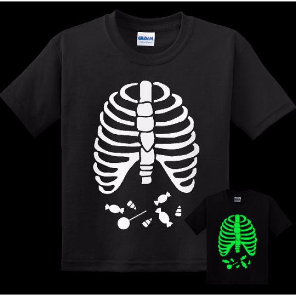 Glow In The Dark Youth Skeleton Candy Halloween Shirt For Kids / Ghoul / Ghostly Top / Halloween Spirit / Halloween / Kids Top / Skeleton