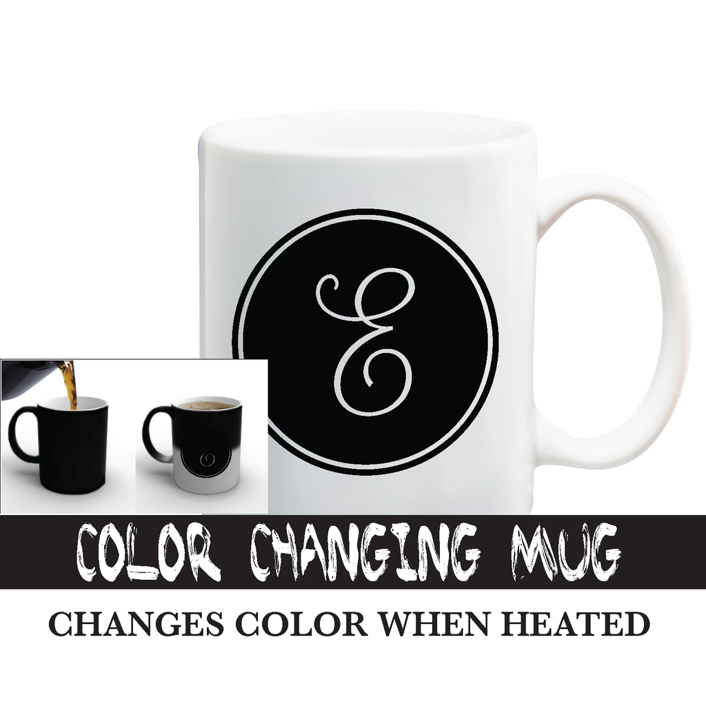 Color Changing Cursive Letter Mug