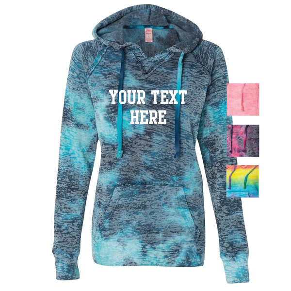 Distressed Burnout V-Notch Tie Dye Hoodie