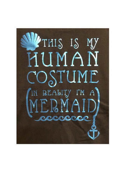 Next Level This is my human costume, in reality I'm a mermaid / Halloween Tank top / Halloween Costume / Mermaid / Under The sea / Metallic
