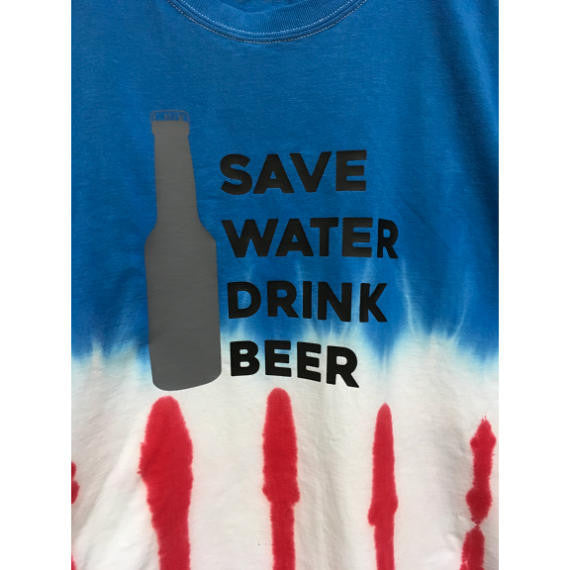 Save Water Drink Beer Flag Tie Dye American Flag T-Shirt