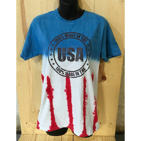 100% Made in the USA Beer Flag Tie Dye T-Shirt/ American Flag Tee/Unisex Tie Dye/ Distressed Print