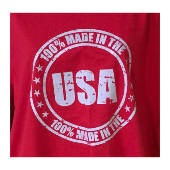 100% Made in the USA Distressed Print on a Made in the USA T Shirt/ 4th of July Tee/ Merica Top/ Red White and Blue
