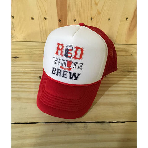 Red White and Brew Mesh Back Cap / Unisex American Flag Hat / Drinking Hat/ Beer / 'MURICA / Fourth of July / 4th of July / Father's Day