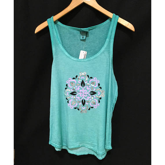 3 Media Mandala Women's Tank Top / Multi-Media Vinyl / Summer Tank / Hipster Summer Washed out Tank / Pigment-Dyed Tank