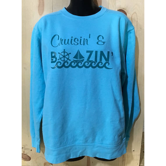 Cruisin' & Boozin' Unisex Crewneck Sweatshirt / Lake Life/ Great Lakes/ Up North Crewneck/ Gone Sailing