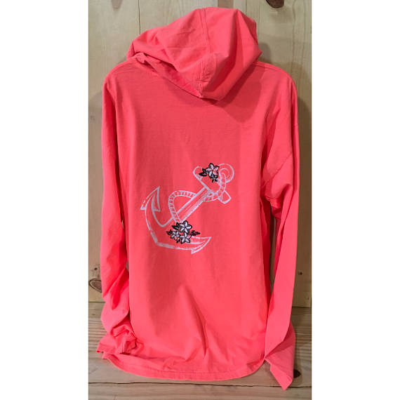 Distressed Anchor with Flowers Hooded Long Sleeve Tee
