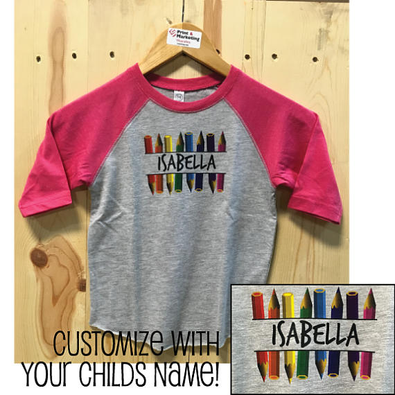 Customizable Name with Colored Pencils Toddler Baseball Fine Jersey Tee
