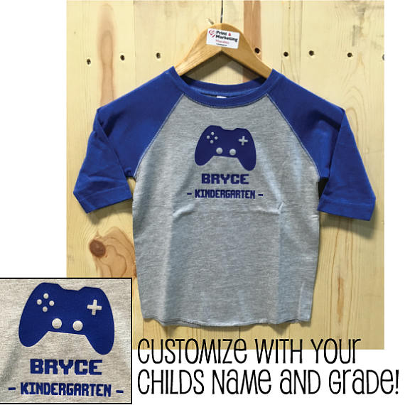 Custom Kids Player Name and Grade Toddler Raglan Baseball Tee/ Back To School / Elementary School / First Day / Boys and Girls / Personalize