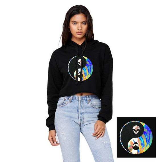Alien Yin Yang Holographic Bella Cropped Hooded Sweatshirt