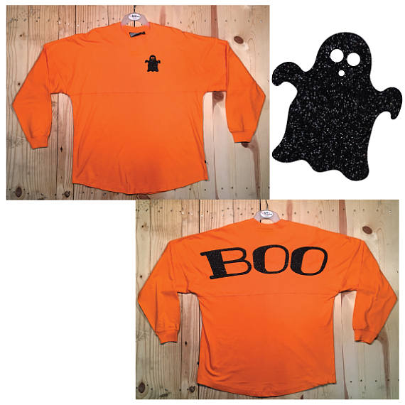 BOO Ghost Black Glitter Orange Halloween Decorated Pom Pom Jersey
