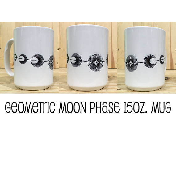 Geometric Line Moon Phase 15oz Mug