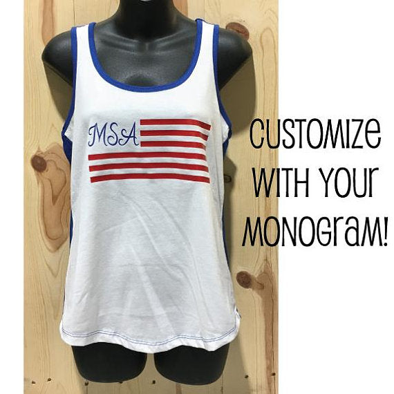 Custom Monogram American Flag Women's Ideal Colorblock Racerback Tank