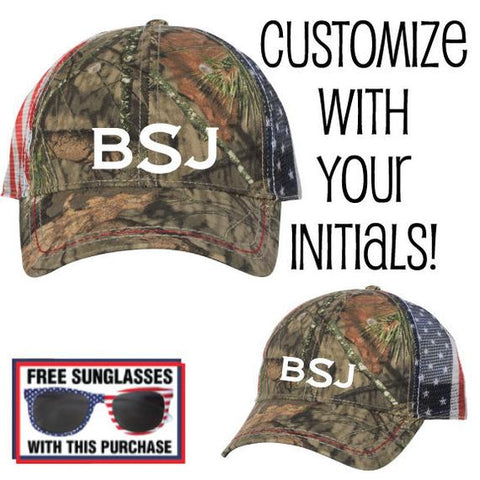 Customizable Monogram American Flag Mesh Back Camo Cap
