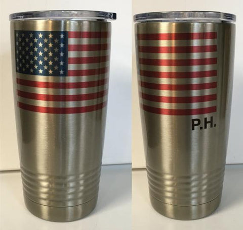 Personalized American Flag Sublimatable 20 oz. Stainless Steel Vacuum Insulated Tumbler