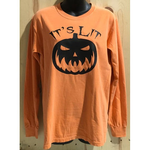 It's Lit Scary Pumpkin Face Comfort Colors Long Sleeve Halloween Top