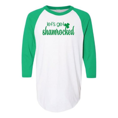 Lets Get Shamrocked Three-Quarter Sleeve Baseball Jersey