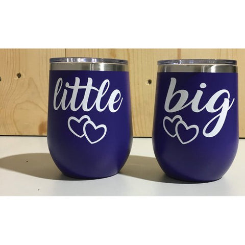 Little Big Sorority Sisters Matching 12oz. Vacuum Insulated Stemless Wine Tumbler Combo Set