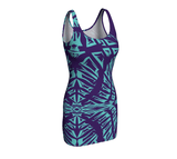 Matrix Dimension Fitted Dress | Purple and Light Blue