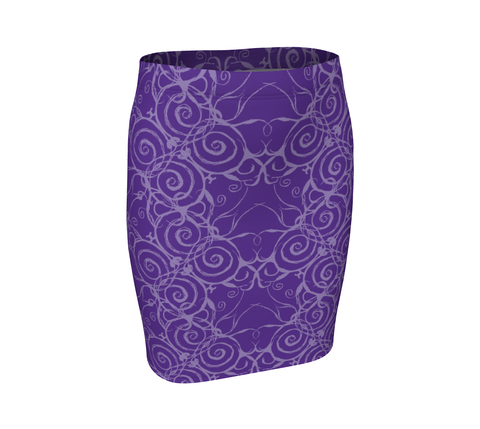 Sacred Spiral Fitted Skirt | Purple