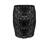 Sacred Spiral Fitted Skirt | Black