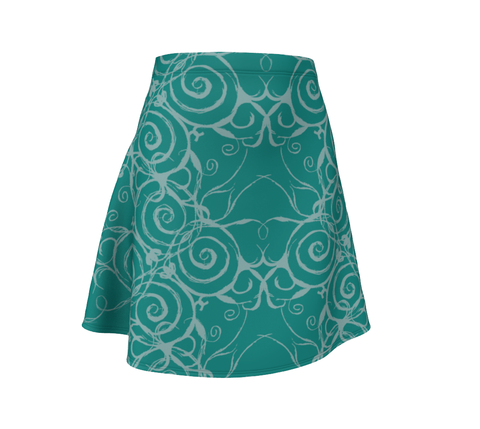 Sacred Spiral A-Line Flare Skirt | Turquoise
