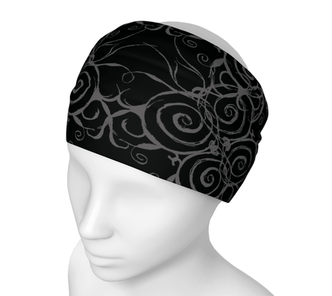Sacred Spiral Headwrap/Dust Mask/Scarf | Black