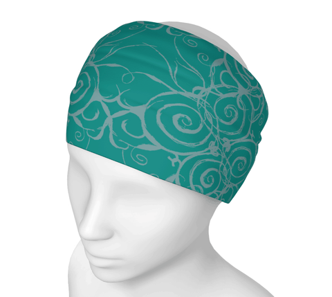 Sacred Spiral Headwrap/Dust Mask/Scarf | Turquoise