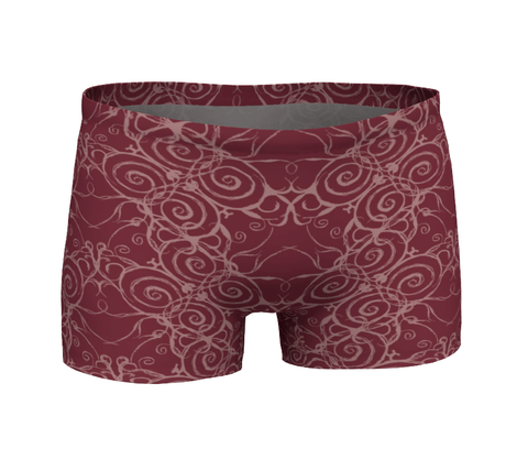 """Sacred Spiral"" ~ Athletic Shorts ~ Burgundy - Shorts - Imaginal Wear - 1"
