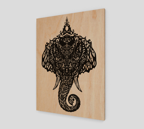 """Om Elefante"" ~ Eco-Wood Print - Wood print - Imaginal Wear - 1"