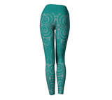 """Sacred Spiral"" ~ Leggings ~ Turquoise - Yoga Leggings - Imaginal Wear - 4"