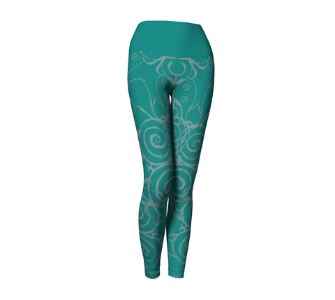 """Sacred Spiral"" ~ Leggings ~ Turquoise - Yoga Leggings - Imaginal Wear - 1"