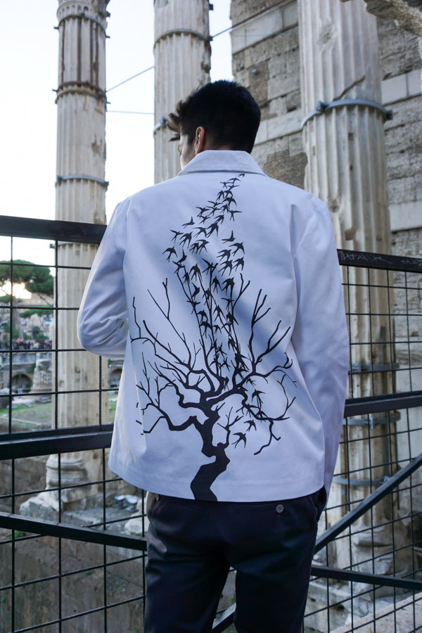 KROMAGNON White Printed Mackintosh Jacket back print details of tree and birds