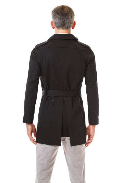 Mens Black Trenchcoat back view