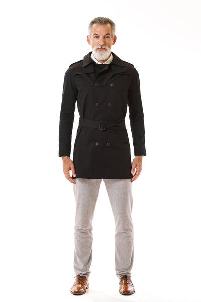 Mens Black Trenchcoat front view