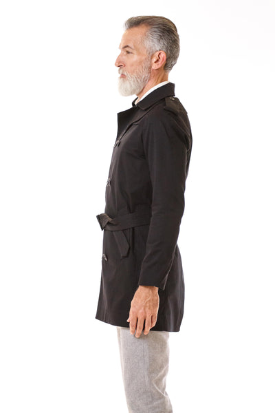 Mens Black Trenchcoat side view