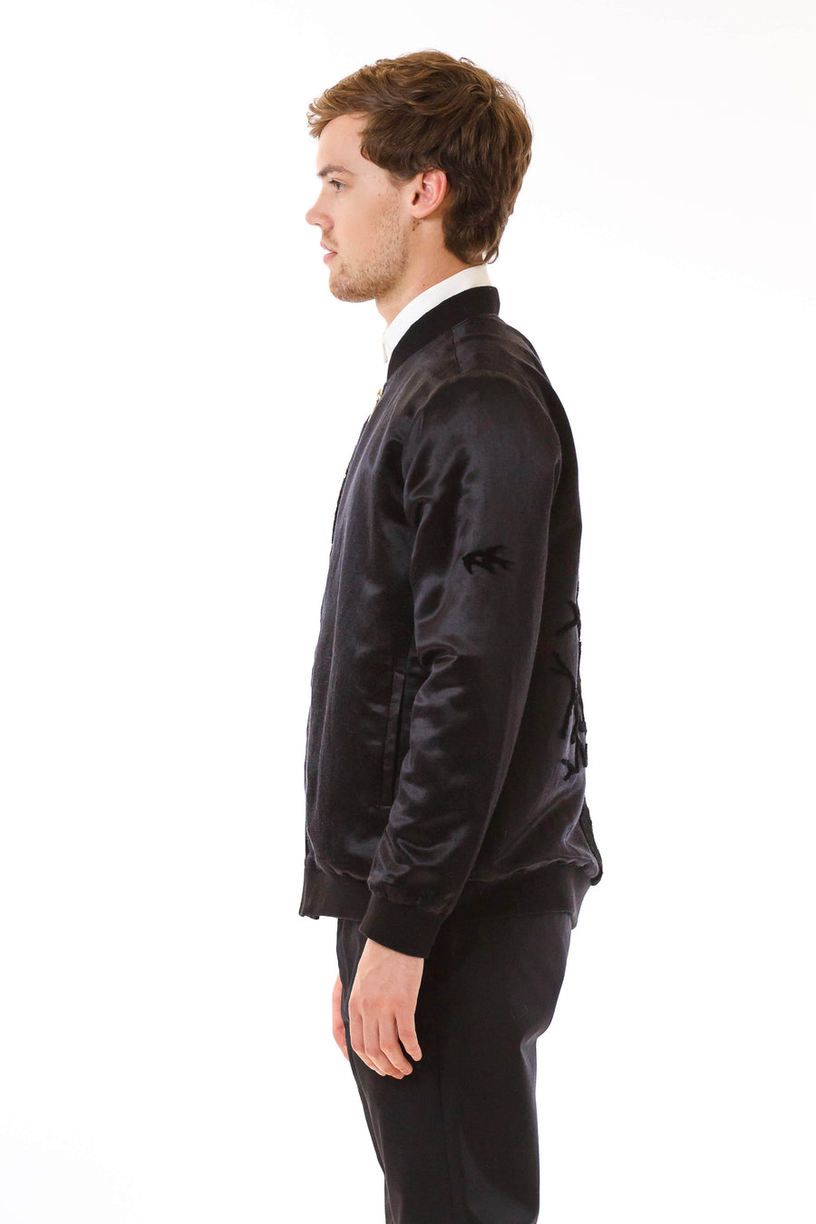 Mens Tufted Silk Bomber front view