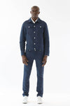 Mens Blue Hemp Denim Jacket front view