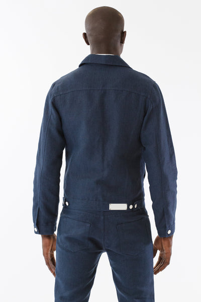 Mens Blue Hemp Denim Jacket back view