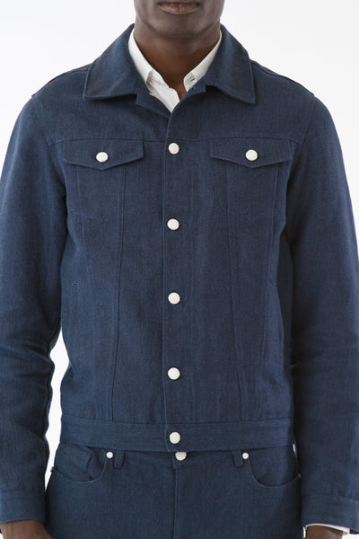 Mens Blue Hemp Denim Jacket front detail view