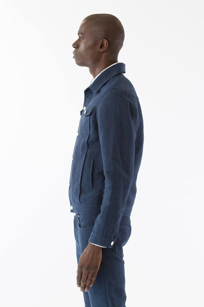 Mens Blue Hemp Denim Jacket side view