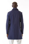 Mens Blue Recycled Long Mackintosh Jacket back view