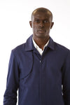 Mens Blue Recycled Long Mackintosh Jacket front detail view