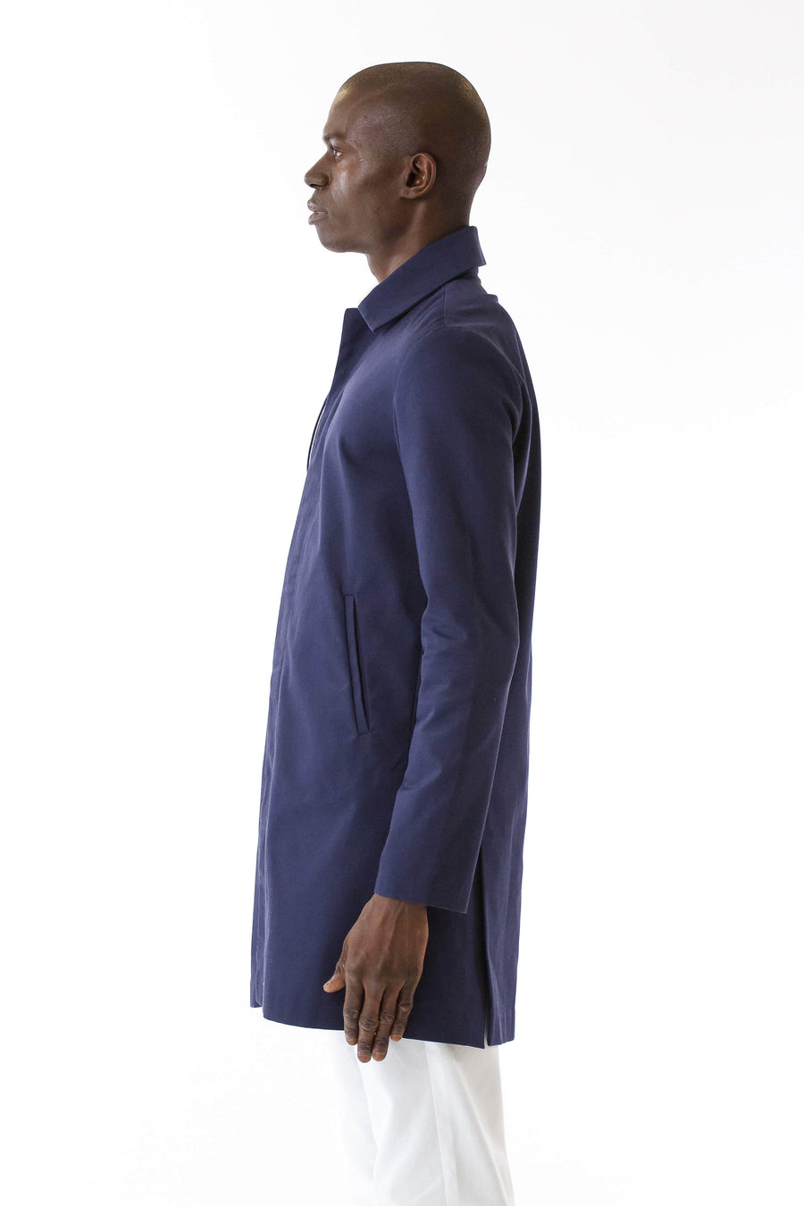 Mens Blue Recycled Long Mackintosh Jacket front view